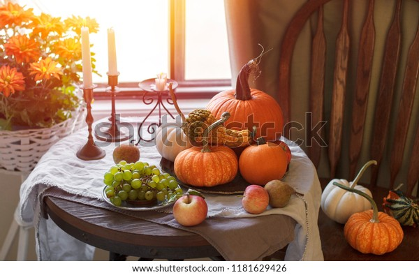 Traditional thankgiving celebration pumpkins sunlight romantic rustic dinner
