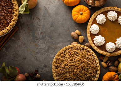 Traditional Thanksgiving pies with copy space overhead view