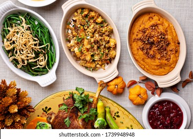 Traditional Thanksgiving sides, green beans casserole, stuffing and sweet potatoes