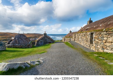 Traditional thatched crofts at Gearrannan Blackhouse Village at 	Carloway on the Isle of Lewis