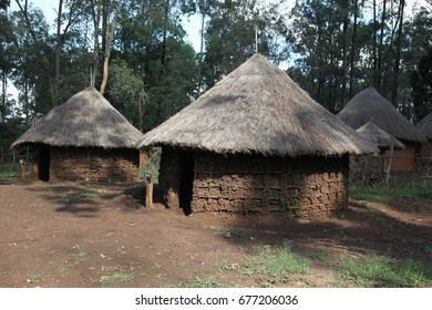 Traditional  thatched homes or huts, in a Maasai African village
