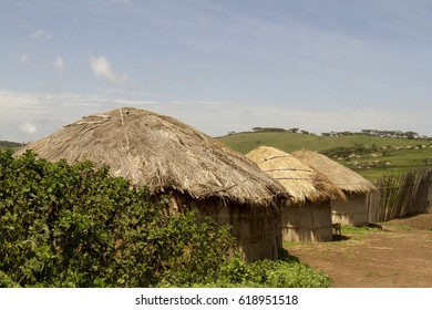 Traditional thatched hut in Maasai village of Ngorongoro Crater Conservation Area, Tanzania.