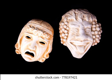Traditional theater symbol, comedy and tragedy masks