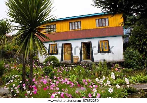 Traditional Tibetan House Beautiful Garden Maneybhanjan Stock