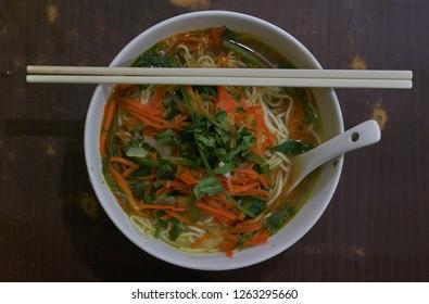 A traditional Tibetan vegetarian thupka, a noodle soup.