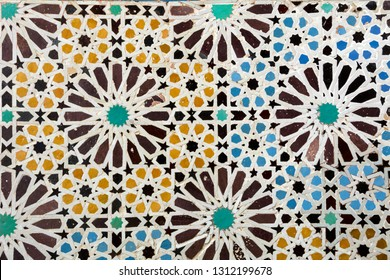 Traditional tile mosaic on wall in Marrakesh
