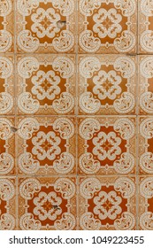Traditional tile patterns on facades in the streets of Lisbon, Portugal.