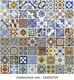 Traditional tiles from facades of old houses in Porto, Portugal