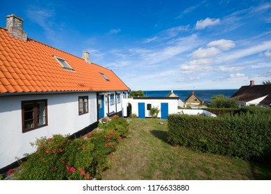 Traditional tiny houses of fishing hamlet, Aarsdale, Bornholm, Denmark