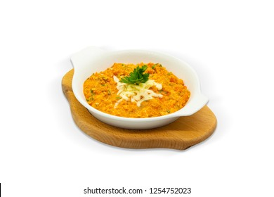 Traditional Tomato and Peppered Eggs Omelette, White Background, with clipping path included (TR: Domatesli Biberli Menemen )