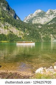 traditional tourist boat cruise on Koenigssee lake