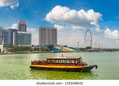 Traditional tourist boats in Singapore at summer day