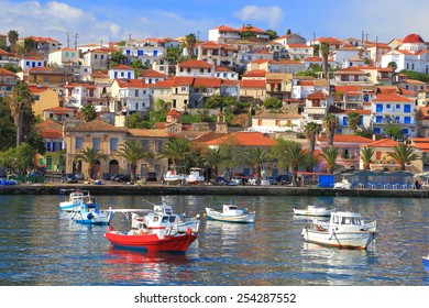 Traditional town and harbor with small fishing bots, Koroni, Greece
