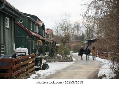 Traditional Town in Winter Landscape