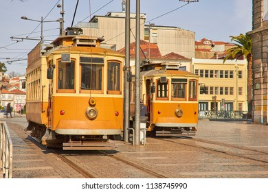 Traditional trams in old Porto city
