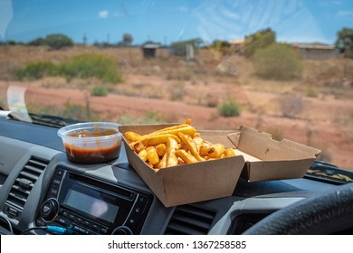 The Traditional trucker dish fries and gravy in Carnarvon Western Australia