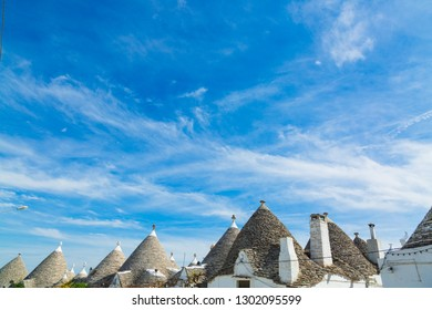 Traditional trulli houses roof tops in Arbelobello, Puglia, Italy