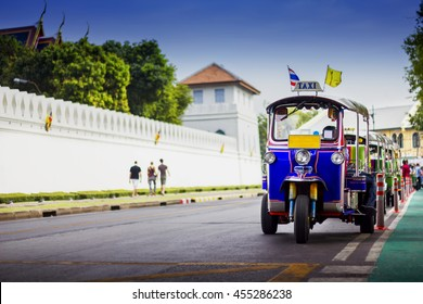 Traditional tuk-tuk from Bangkok,the vehicle that have three wheels,is famous in tourism group to have a fast travel in Bangkok city.