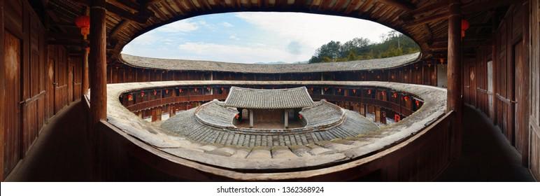 Traditional Tulou building panorama view in Fujian, China.