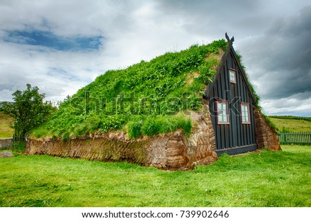 Traditional turf house in Glaumbaer, Iceland