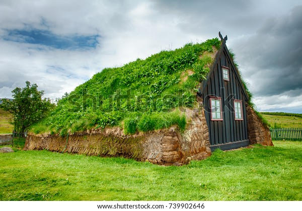 Traditional turf house in Glaumbaer, Iceland
