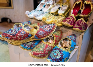 Traditional Turkish Babouche Slippers for sale at Grand Bazaar in Istanbul, Turkey