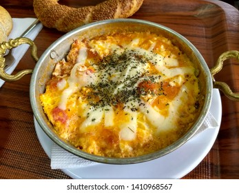 traditional turkish breakfast menemen in handmade copper pan