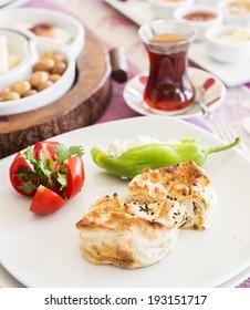 Traditional Turkish breakfast at restaurant table