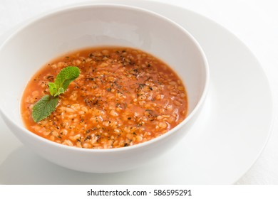 traditional turkish bride soup made of red lentils and bulgur