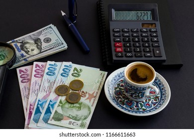 Traditional Turkish coffee on the black surface with calculator,pen,Turkish Lira  and American Dollar banknotes.Exchange rate on calculator and how much one hundred dollar in Turkish Lira showing.