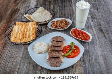 Traditional Turkish cuisine Sivas meatballs. (Sivas Leaf Meatballs)