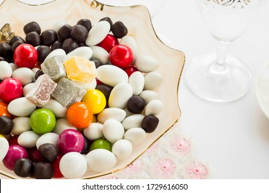 Traditional Turkish Delight,Lokum designed with colorful almond candies and ball chocolates.The Sugar Feast after Ramadan