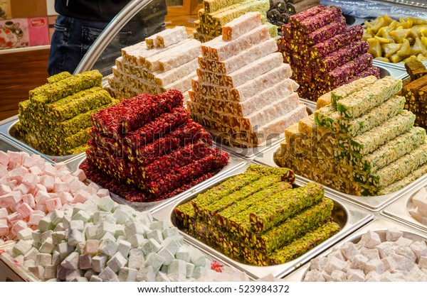 Traditional turkish delights sweets at the Grand Bazaar in Istanbul, Turkey.