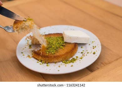 Künefe, Traditional Turkish Dessert with Kaymak, Kunefe