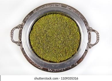 Traditional Turkish Dessert Kunefe/ Kunefe. The Turkish name is '' Billuriye Kunefe ''.