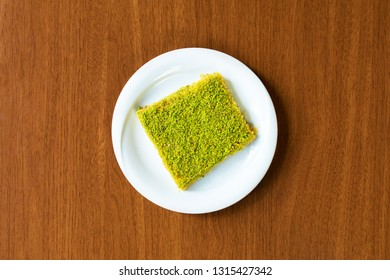 Traditional Turkish Dessert Kunefe from top view.