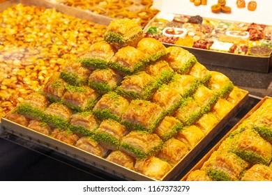 Traditional Turkish Dessert Pistachio Baklava On Counter