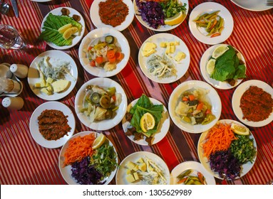 Traditional Turkish  dinner meze table .