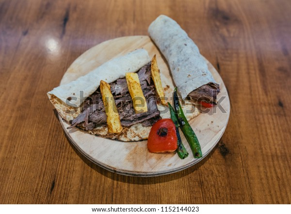 Traditional Turkish Doner Kebab Wrap Sandwich Stock Photo Edit Now 1152144023