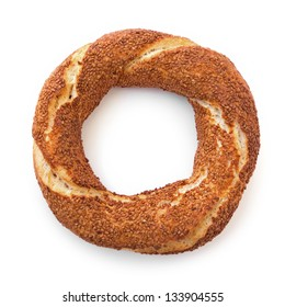Traditional Turkish donut, called as Simit in Turkish,  isolated on white.