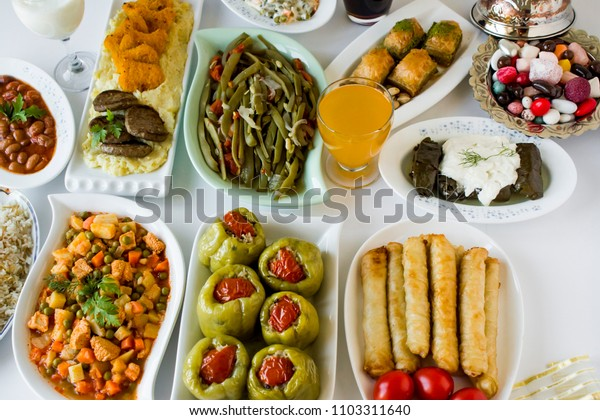 Traditional Turkish Feast Table with foods of Turkish cuisine.Conceptual image for celebrations.