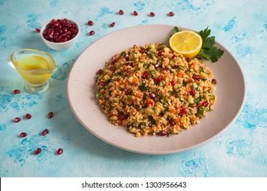 Traditional turkish food bulgur salad - Kisir.