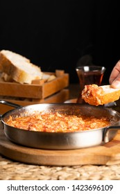 Traditional turkish food menemen made by eggs and tomatoes