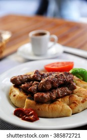 Traditional Turkish food - pide with grilled meat and vegetable