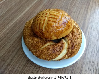 traditional turkish food simit with plain pastry for breakfast, simit is salty pastry with sesame seeds