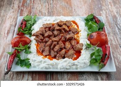 Traditional Turkish foods Ali Nazik kebab Ottoman cuisine