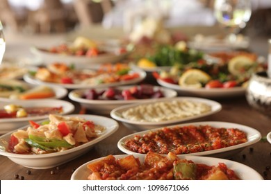 Traditional Turkish  and Greek dinner meze table