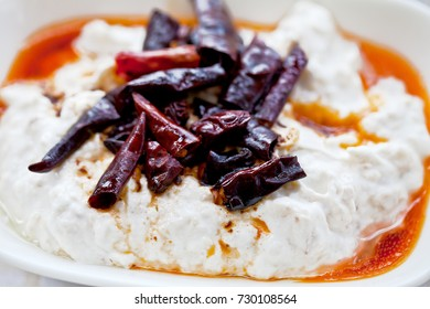 Traditional Turkish and Greek Meze with chili peppers. Turkish Appetizer Atom with yogurt from Bodrum.