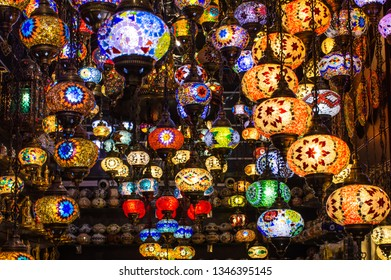 Traditional Turkish hanging lamps, Colorful Ramadan Eid Background Click from Dubai Gols and Sprice Souk famous tourist place
