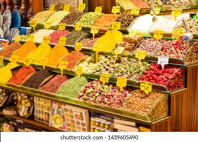 Traditional Turkish herbal tea and spices in Spice Bazaar